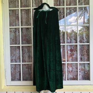 Velvet Green Hooded Cloak Cosplay Cape